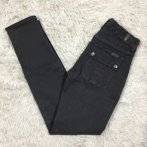 7 For All Mankind 25 Gray Moto Zip Skinny Jeans